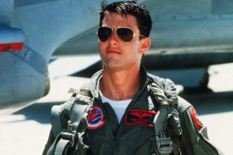 Tom Cruise in Top Gun met de pilotenbril